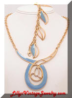 MONET Contemporary Blue Enamel Necklace Bracelet Set