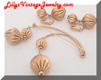 Vintage NAPIER Golden Dangles Brooch Earrings Set