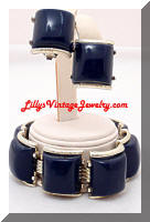 Vintage Navy Blue Plastic Chunky Bracelet Earrings Set