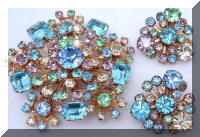 Vintage GORGEOUS Pastel Rhinestones Brooch Earrings SET