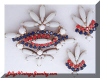 Vintage Patriotic Red White Blue Rhinestones Brooch Earrings Demi Set