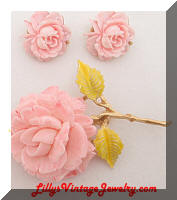 J.J. Pink Roses Flower Brooch and Earrings Set