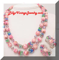 Vintage Swirl Pink Crystals Frosted Colored Glass Beads Necklace Earrings Set
