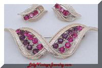 Stylish Pink Purple Rhinestones Ribbon Brooch Earrings Set
