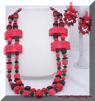 Funky Chunky Red Black Wood Beads Necklace Earrings Demi