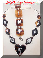 Art Deco TORTOISE Shell Fiji Sweetheart Necklace Bracelet Set