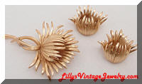 Vintage TRIFARI Golden Floral Brooch Earrings Set