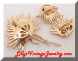 Vintage TRIFARI gold tone flowers brooch and earrings set