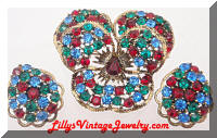 Vintage WEISS Multi Colored Rhinestones Pansy Brooch Earrings Set