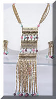 Large Vintage Gold tone Fringe Beads Necklace Earrings Set