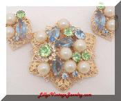 Pastel Rhinestones Pearls Brooch Earrings