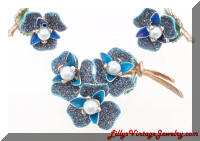 Sugar Coated Blue Enamel faux Pearls Brooch Earrings Set