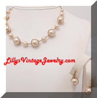 Vintage Caged faux Pearls Necklace and Earrings Set