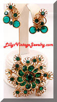 Vintage Green Rhinestones Floral Brooch Earrings Set