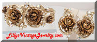 Vintage Goldtone Roses AB Rhinestones Clamper Bracelet & Earrings Set