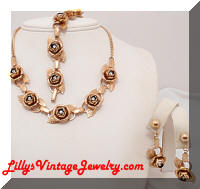 Vintage Golden Roses Rhinestones Necklace Bracelet Earrings Set