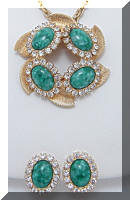 Vintage Green Art Glass Rhinestones Pendant Necklace Earrings SET