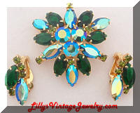 Vintage Green AB Rhinestones Brooch and Earrings Set
