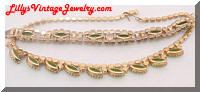 Vintage Peridot Green Rhinestones Necklace Bracelet Set