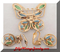 Vintage Blue Green Rhinestones Butterfly Brooch Earrings Set