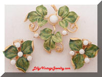 Enamel white beads Leaf Brooch Earrings Set