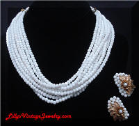 Vintage Multi-Strand Milk Glass Beads Necklace Earrings Demi
