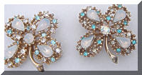 Vintage Opals AB Rhinestones Clover Scatter Pins