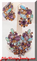 Vintage Purple Topaz Art Glass Iridescent Dangle Beads Brooch Earrings Set