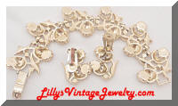 Vintage Quality Golden Rhinestones Flowers Bracelet Earrings Set