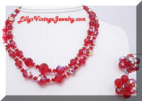 Vintage AB Red Hot Crystals Beads Necklace and Earrings Set