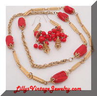 Golden Links Red Beads Necklace Dangle Earrings Set
