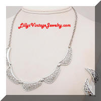 Silver tone Filigree Necklace Earrings Set