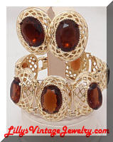 Golden Domed Topaz Rhinestones Chunky Bracelet Earrings Set