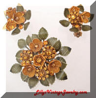 Vintage Enamel Topaz Rhinestones 3D Floral Brooch Earrings Set