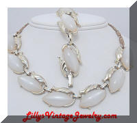 Sassy White Lucite Moonglow Gold tone Necklace Bracelet Demi