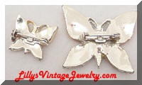 Vintage Enamel Butterfly Brooch and Scatter Pin Set