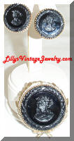 WHITING and DAVIS Black Intaglio Brooch Earrings Set