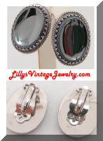 WHITING & DAVIS Concaved Hematite Earrings
