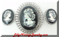 WHITING & DAVIS MOP Cameo Brooch Earrings Set