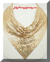 Fabulous WHITING and DAVIS Gold tone Mesh Scarf Necklace